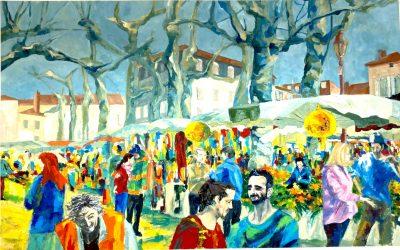 Irisse en couleurs : les peintures d'Anne-Marie Naboulet viennent égayer notre salle de réunion.